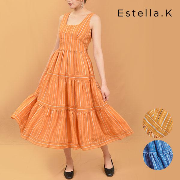 【SALE20%OFF】エステラケー Estella.K 20春夏 Andrea Striped Dress ワンピース ドレス フレア ストライプ ノースリーブ Aライン バケーション 旅行 海 レディース バックスタイル リボン バックリボン 2020春夏 120151084