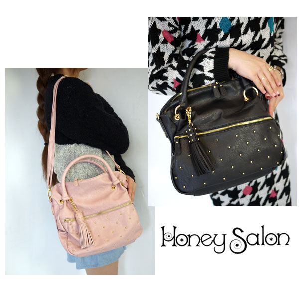 It is most suitable for ★ daily with the shoulder which is usable in honey salon [honey salon] 2WAY! Piccadilly square bag shoulder bag tote bag studs Lady's [immediate delivery]