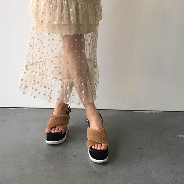DOUBLEHEART | Rakuten Global Market: Honey me honey HONEY MI HONEY end of September reservation fur sandal fur sandals Lady's sandals fur flat 18a-ev-02