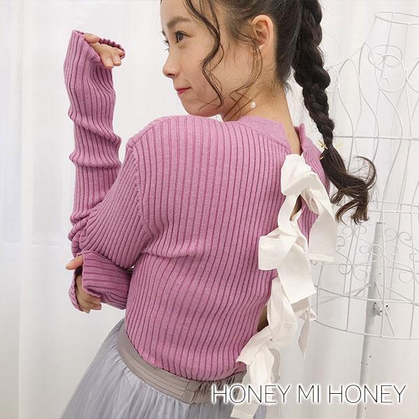 【SALE30%OFF】ハニーミーハニー HONEY MI HONEY backribbon knit バックリボンニット トップス ニット プルオーバー リボン バックリボン リブ レディース 18a-sw-02背中開き