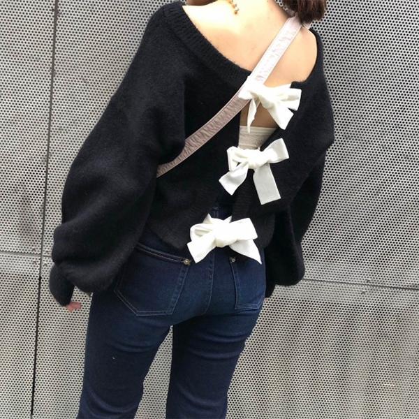 【クーポン対象】ハニーミーハニー HONEY MI HONEY 通販 ribbon cardigan リボンカーディガン ニット カーディガン トップス ショート丈 リボン ボリュームスリーブ レースアップ レディース 18a-sw-04
