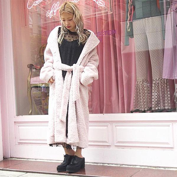 【SALE50%OFF】ハニーミーハニー HONEY MI HONEY 通販 sheep coat シープコート コート アウター ロング丈 レディース ブークレ もこもこ ピンク フェイクファー 18a-ta-21 [Y100]