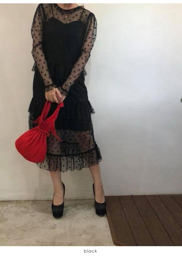 b1b406b0043 Honey me honey HONEY MI HONEY middle of August reservation dottulle long one-piece  dot Jyr long dress Tulle dress lady s long long Japanese paper sleeve dot  ...