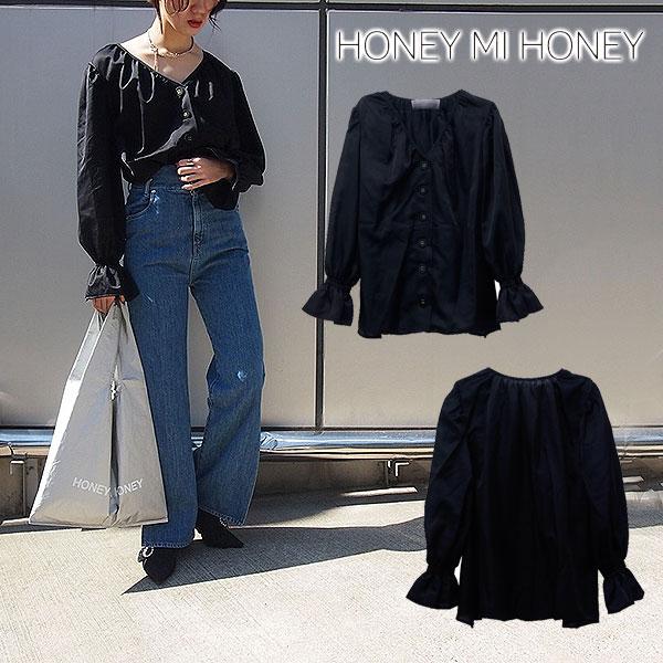 【通18360円→40%OFF】ハニーミーハニー HONEY MI HONEY 通販 Vcut blouse Vカットブラウス シャツ ブラウス 長袖 無地 Vネック ベルスリーブ レディース 18S-VG-18