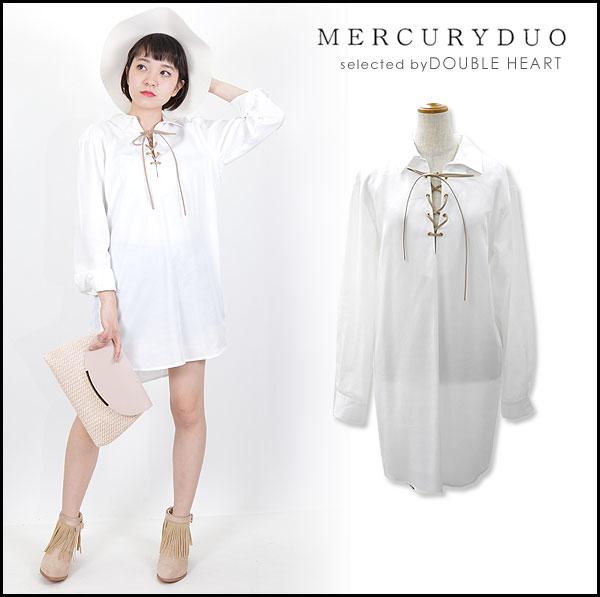 머큐리 듀오 MERCURYDUO 레이스 업 셔츠 원피스 원피스 셔츠 원피스 긴소매흰색 셔츠 001610306601