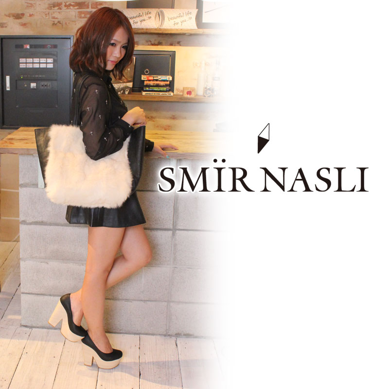 ♪ Fur Combi Tote | cute Sammy luna pickpocket [SMIR NASLI] bag rabbit fur Lady's / tote bag / by color | Magazine ViVi publication brand♪