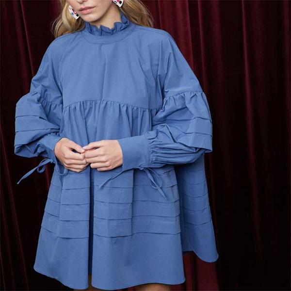 シスタージェーン SISTER JANE 通販 Aurora Tent Dress ワンピース レディース 長袖 ミニ丈 ミニワンピ プリーツ スタンドネック プリーツ ブルー 結婚式 デイリー お呼ばれ パーティー SISTERJANE dr1010