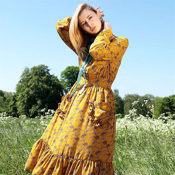 【クーポン対象】シスタージェーン SISTER JANE 通販 Chamomile Retrospect Dress カモミールレトロスペックドレス ドレス ワンピース レディース 柄 ビジュー リボン ひざ丈 長袖 dr934