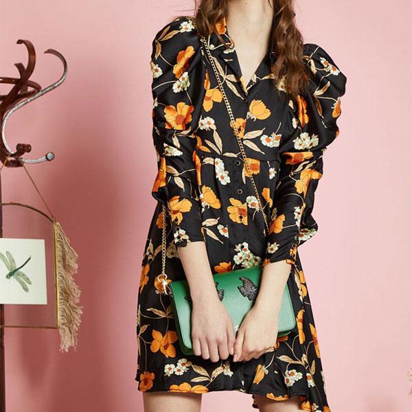 【クーポン対象】シスタージェーン SISTER JANE 通販 Orange Blossom Ruched Dress オレンジブロッサムルーシュドドレス ドレス ワンピース レディース 花柄 ミニ丈 長袖 シャーリング dr935