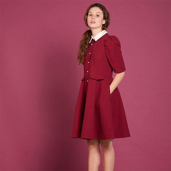 【SALE30%OFF】シスタージェーン SISTER JANE 通販 Pique Cheshire Dress ワンピース レディース 半袖 5分袖 ミディアム丈 膝上 ドレス オケージョン お呼ばれ 襟付き 真珠 無地 SISTERJANE dr996