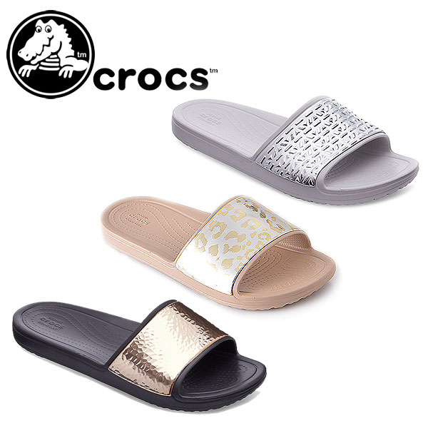 3ef3b8a6e4655 DOUBLEHEART  Clocks crocs Women s Crocs Sloane Graphic Slides Lady s ...