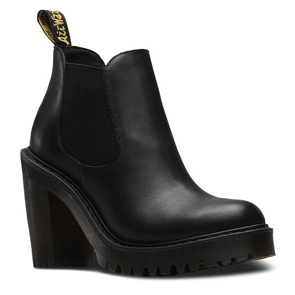 【クーポン対象】ドクターマーチン Dr.Martens 通販 HURSTON CHELSEA BOOT レディース シューズ 靴 ブーツ サイドゴア ヒール チャンキー レザー ブラックステッチ BLACK 定番 黒 2393100