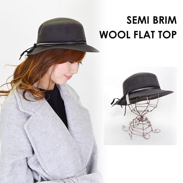 Felt Hat ladies collar wide Hat SEMI BRIM WOOL FLAT TOP collar wide Hat  actress Hat felt felt Cap Fedora Hat turu turu Hat Ribbon size adjustable  double ... f730860dd21