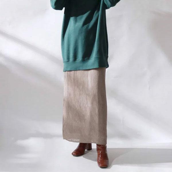 【クーポン対象】アングリッド ungrid 通販 ランダムプリーツマキシスカート レディース スカート ロング マキシスカート プリーツ ウエストゴム シンプル 無地 カジュアル パープル グレー ベージュ 111850849501