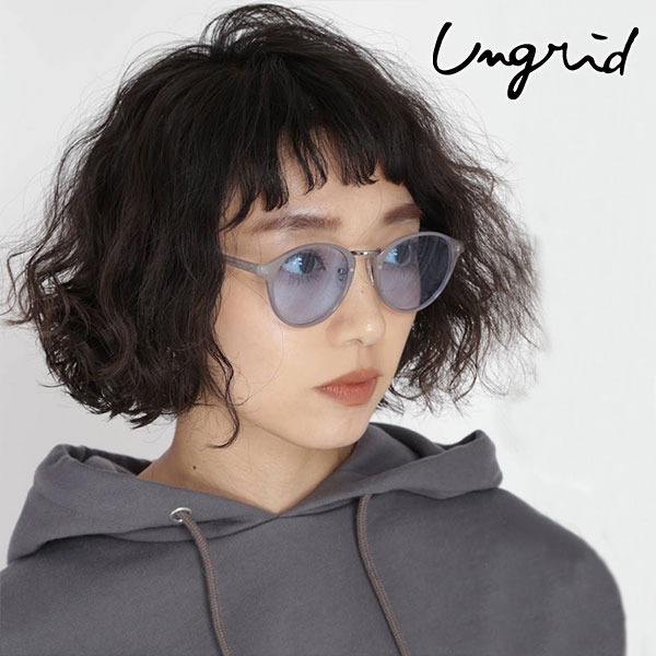 2e596100ff Ann grid ungrid mail order metal bridge clear frame sunglasses Lady s sunglasses  glasses glasses color lens metal clear frame ultraviolet rays cut Natsumi  ...
