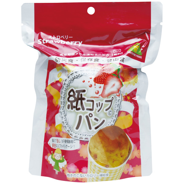 紙コップパン(ストロベリー)1ケース(30袋入り)(5年保存)【メーカー直送のため代引不可】