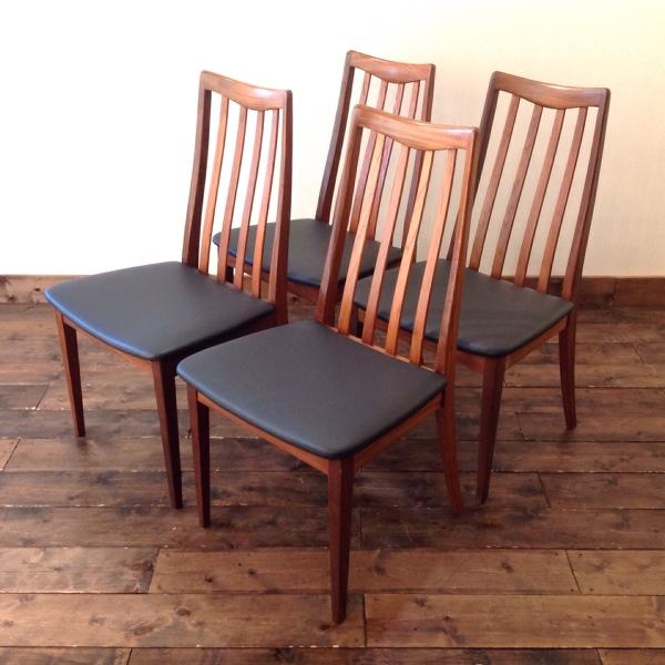 ジープラン ダイニングチェア 4脚セット(縦バー)G-Plan 4 Dining Chairs(2704-019)【ダブルデイ/DOUBLEDAY/アンティーク/ビンテージ/チーク/家具/雑貨】