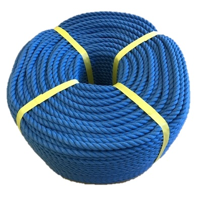 ポリエステルスパンロープ 青色 径12mm 長さ100メートル巻き