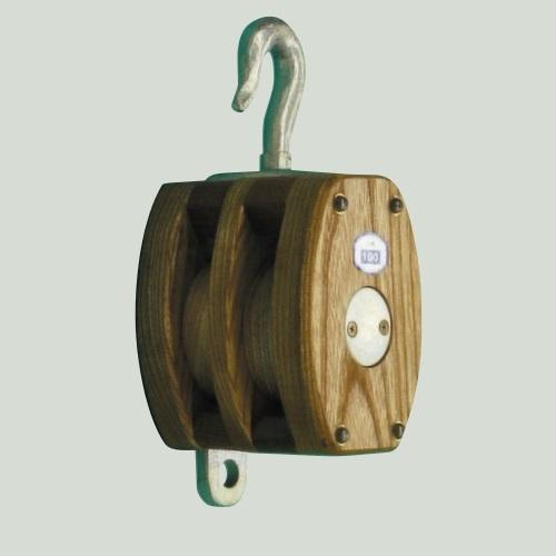 <title>日本産 内部鉄バンド付木製滑車 NEW 三車 木製シーブ フック頭 適用ロープ径22mm</title>