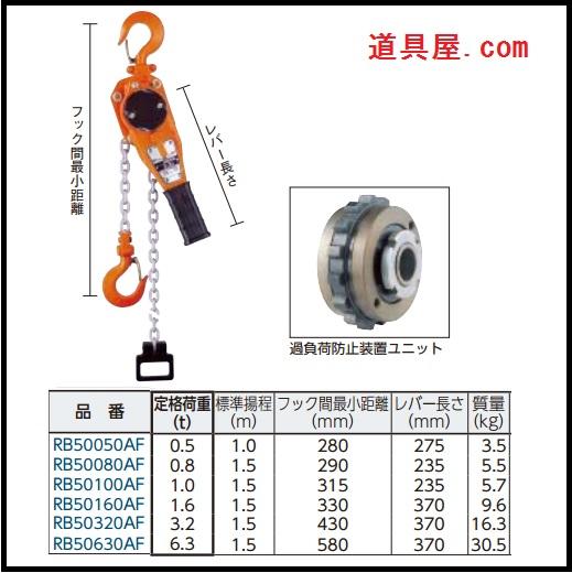 ニッチ RB5A形レバーホイスト 過負荷防止装置付 6.3t