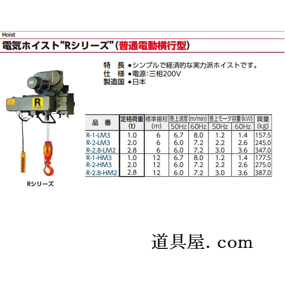 三菱電機 FA産業機器 ホイスト中頻度用Rシリーズ(普通電動横行形)