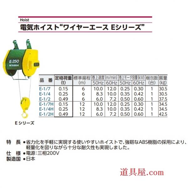 三菱電機FA産業機器 ワイヤーエース軽頻度用Eシリーズ(3相200V懸垂形)