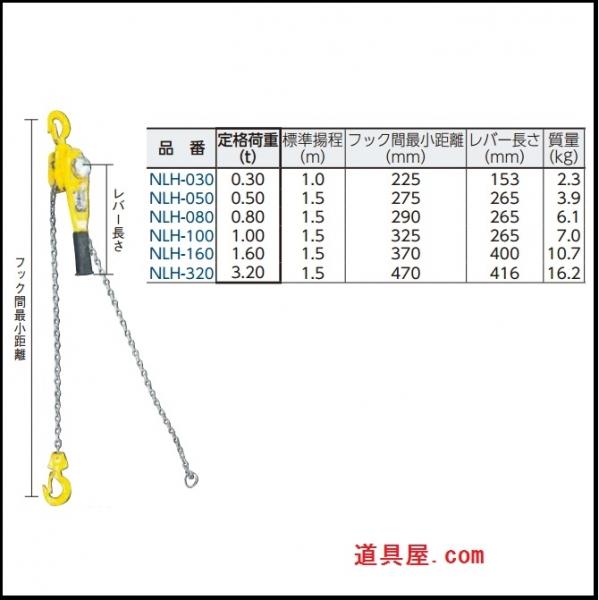日興 レバーホイスト 定格荷重0.5t
