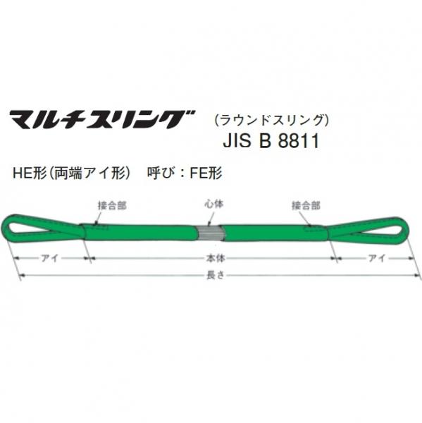 シライ マルチスリング HE 両端アイ形 最大使用荷重8.0T 長さ2.5m