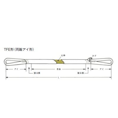 シライ 耐熱用マルチスリング TFE 両端アイ形 最大使用荷重0.5T 長さ3.5m