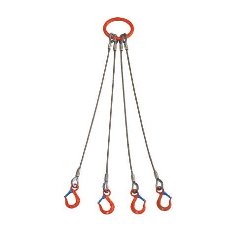 4本吊 ワイヤスリング ワイヤ径16mm 基本使用荷重5T用 有効リーチ1.5m