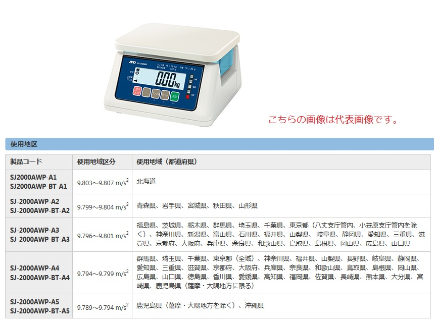 A&D 防塵防水はかり SJ-2000AWP-A3 (SJ2000AWP-A3) (検定付)