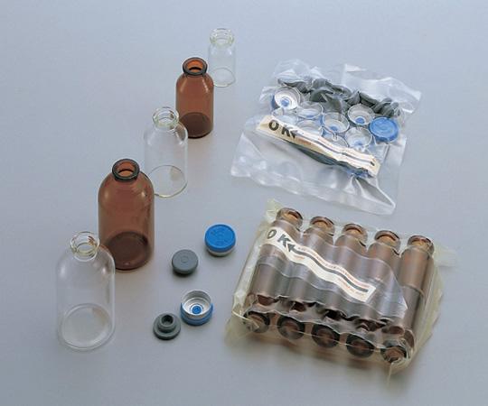 アズワン ステリ・バイアル (ゴム栓、キャップ付) 4-4010-05 《ガラス製容器》