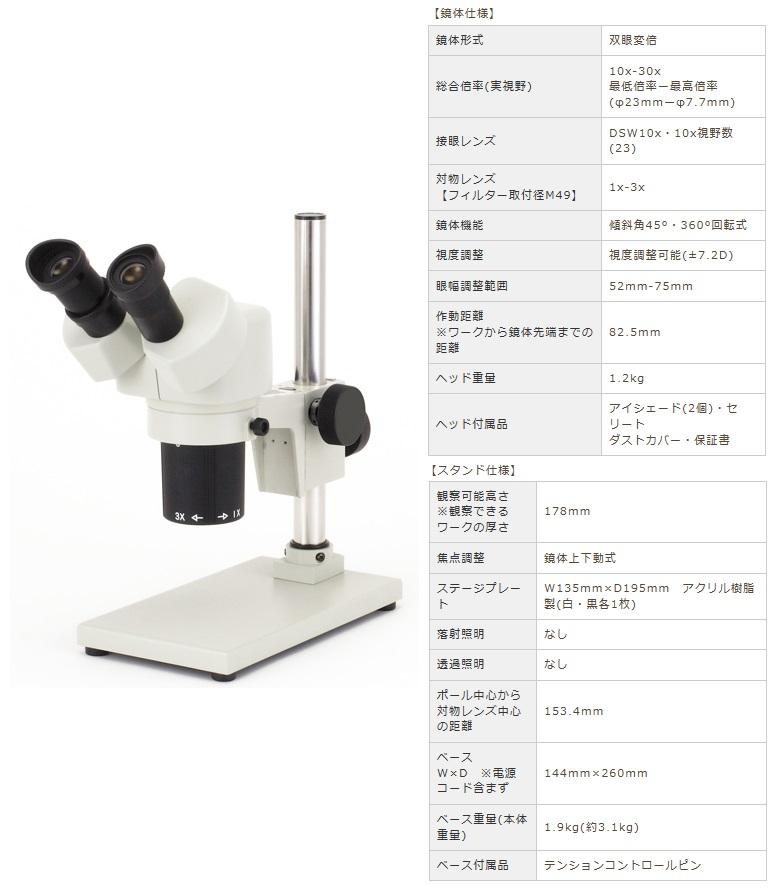 カートン光学 (Carton) 変倍式実体顕微鏡 NSW-30SB-260 (M356326) (双眼タイプ)