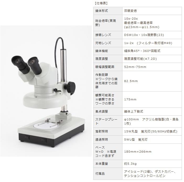 カートン光学 (Carton) 変倍式実体顕微鏡 NSW-20FT15-260 (M35721526) (双眼タイプ)