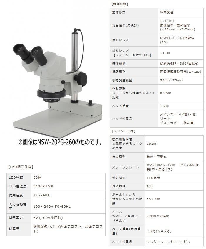カートン光学 (Carton) 変倍式実体顕微鏡 NSW-40PG-260 (M366426) (双眼タイプ)
