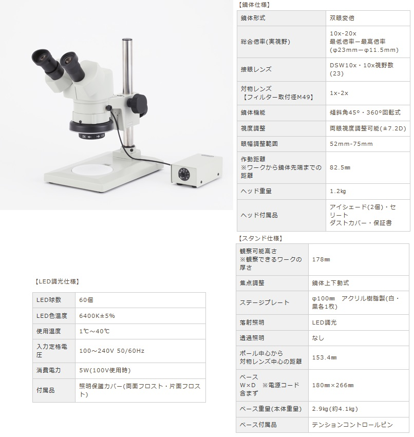 カートン光学 (Carton) 変倍式実体顕微鏡 NSW-20FTP-GS-260 (M377226) (双眼タイプ)