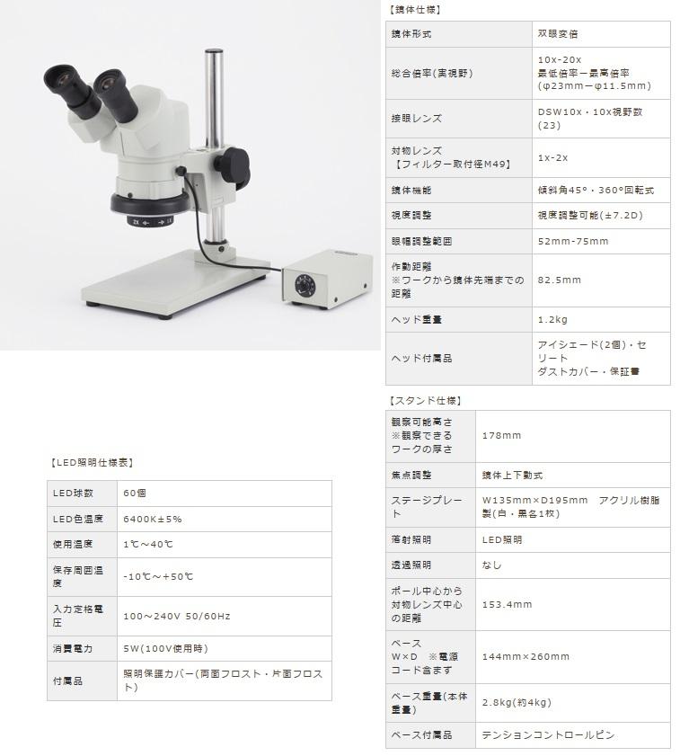 カートン光学 (Carton) 変倍式実体顕微鏡 NSW-20SB-GS-260 (M399226) (双眼タイプ)