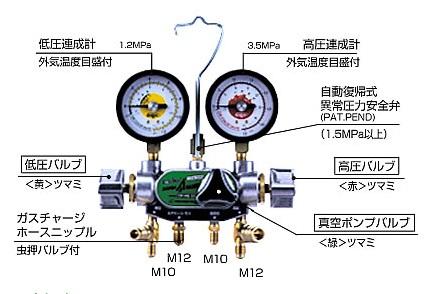 デンゲン マニホールドゲージ CP-MG313NDX 〈3バルブ方式〉