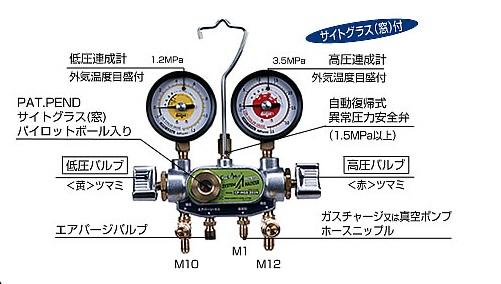 デンゲン マニホールドゲージ CP-MGS203N 〈2バルブ方式〉