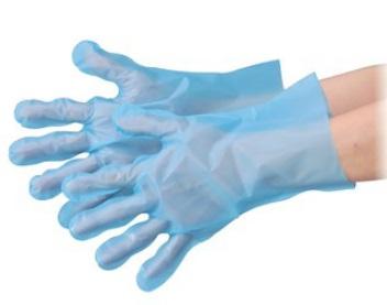 エブノ ポリエチレン手袋 No.3053 SS ブルー 6000枚(100枚×60袋) エブケアエンボス絞り