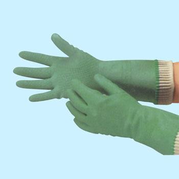 【大箱特価】 エブノ ラテックス手袋 R-30 L グリーン (10双×12袋) 天然ゴム厚手 緑