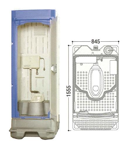 【直送品】 ハマネツ 仮設トイレ (簡易水洗) TU-iXF (1523100) 《兼用和式タイプ》 【大型】