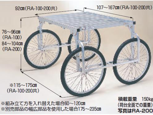 【直送品】 ハラックス 楽太郎 アルミ製 収穫台車 RA-200 26インチエアータイヤ 【大型】