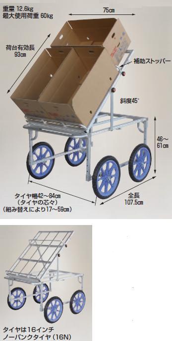 【直送品】 ハラックス (HARAX) 楽太郎 収穫台車手前向き傾斜タイプ RAK-960K 16インチノーパンクタイヤ 【大型】