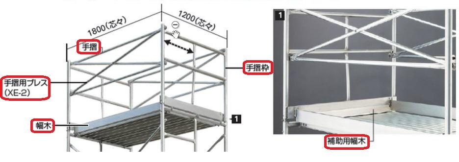 【直送品】 長谷川工業 ハセガワ SMA用幅木付安全手摺(一式) 15325 【送料別】