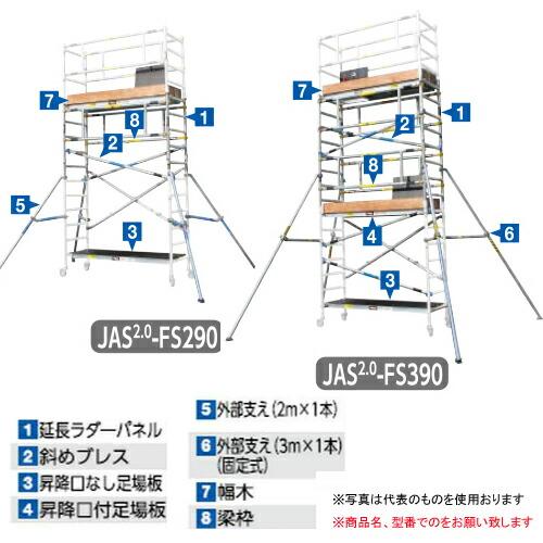 【直送品】 長谷川工業 ハセガワ ジッピー 手摺枠 JAS-AL-FSPGR (16181) 《構成部材》【法人向け、個人宅配送不可】 【大型】