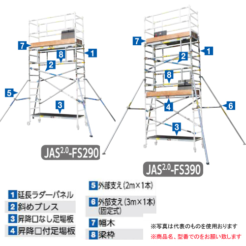 【直送品】 長谷川工業 ジッピー 手摺枠ラダータイプ JAS-AL-FSLGR (16190) 《構成部材》【法人向け、個人宅配送不可】 【大型】