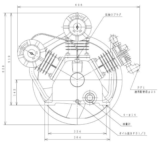 環境・省エネに貢献!  【直送品】 日立 給油式ベビコン 7.5P-9.5CV 圧縮機本体 【大型】
