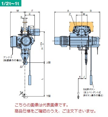 【直送品】 日立 普通形ホイスト Super Vシリーズ 0.5t/揚程 12m ペンダント式 (1/2HM-T65-V3) (巻上のみインバータ・電動トロリ付)