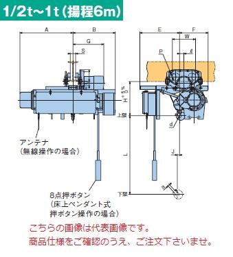 【直送品】 日立 ローヘッド形ホイスト Super Vシリーズ 0.5t/揚程 6m 無線式 (1/2L-T55-WM32) (巻上・横行インバータ・電動トロリ付)